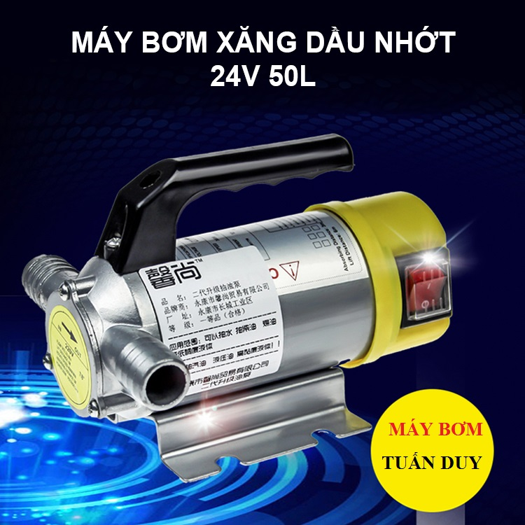 Máy bơm xăng dầu nhớt Inox 24V 200W 50L