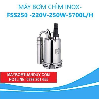 MÁY BƠM CHÌM INOX 220V-250W-5700L/H(CÓ PHAO)