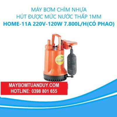Máy Bơm Chìm Nhựa- Hút Được Mức Nước Thấp 1mm – Home- 11A 220V-120W 7.800L/H (Có Phao)
