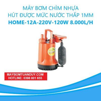 Máy Bơm Chìm Nhựa- Hút Được Mức Nước Thấp 1mm – Home- -12A 220V-120W 8.000L/H (Có Phao)