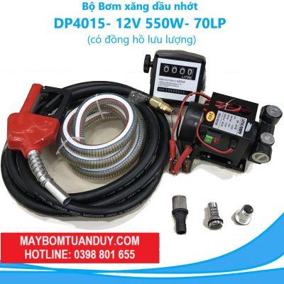 Bộ Bơm Xăng Dầu Nhớt – DP4015- 12V 550W- 70L/P (Có Đồng Hồ Đo Lưu Lượng)